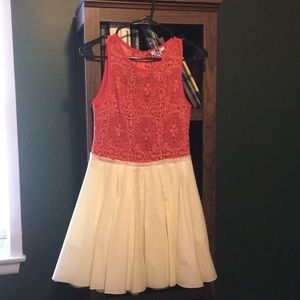 Lace Dress - coral and ivory bottom